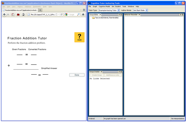 Launching both the Flash student interface and the Behavior Recorder for HTML and Flash