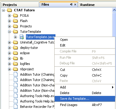 Java Template Cl | Cognitive Tutor Authoring Tools Configuring Netbeans 5 0